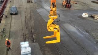 MANTSINEN - 200 M Material Handler, Steel coil unloading with double C-hook