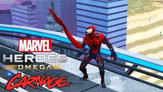 Marvel Heroes Omega CARNAGE Spider-Carnage Costume Test Center Gameplay and Overview