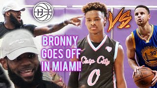 LeBron James WATCHES BRONNY VS STEPH CURRY JR in SOUTH BEACH! King James Back 2 Miami?!?!