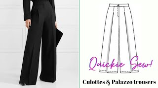 Culottes And Palazzo Trousers Pattern Tutorial - QUICK SERIES