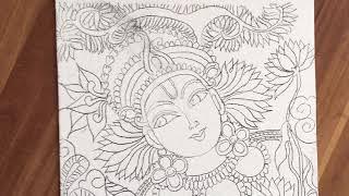 Lord krishna Kerala mural painting time lapse