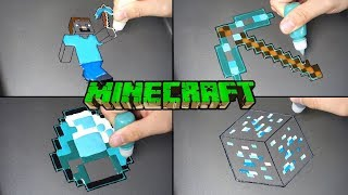 Minecraft Real life Pancake Art  - Steve, dia ore, gem, pickaxe / Satisfying Video For Kids
