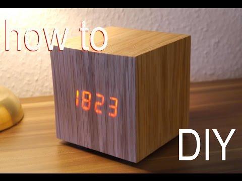 DIY Design-Uhr aus Holz - Minimalistische Eckigkeit im Eigenbau