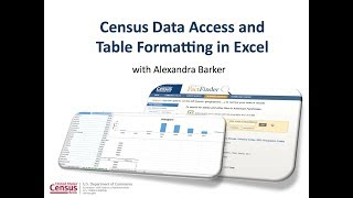 Basic Census Data Access and Table Formatting in Excel