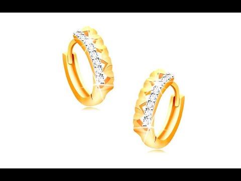 Schmuck - Ohrringe aus 14K Gold - Creolen mit Herzen und klarer Zirkonialinie