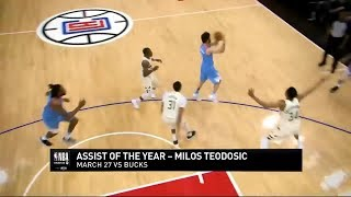 [Assist Of The Year Nominee] Milos Teodosic NO-LOOK Assist for DeAndre Jordan vs Bucks