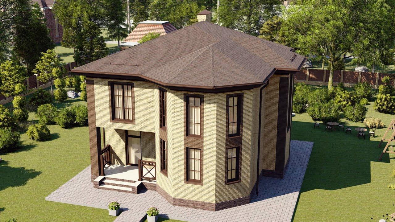 Проект дома из газобетона 2 этажа с эркером 141 м2
