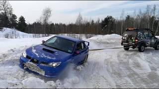Subaru Impreza Club ралли спринт. Работа эвакуатора