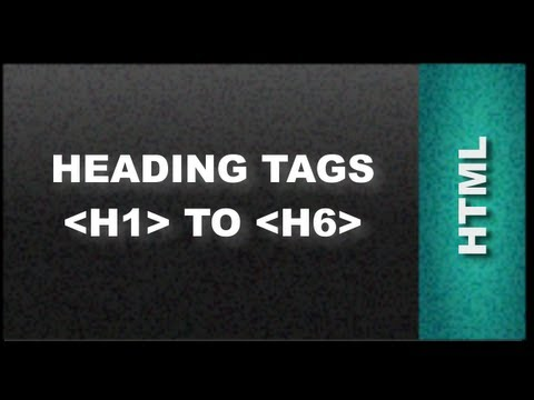 HTML Web Design Tutorials - HTML heading tags H1 to H6  Lesson 3