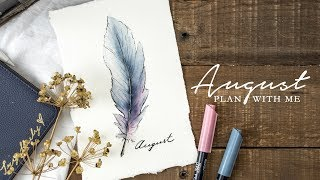 PLAN WITH ME | August Bullet Journal Setup | Watercolor Feathers (w/ MyLifeinaBullet)