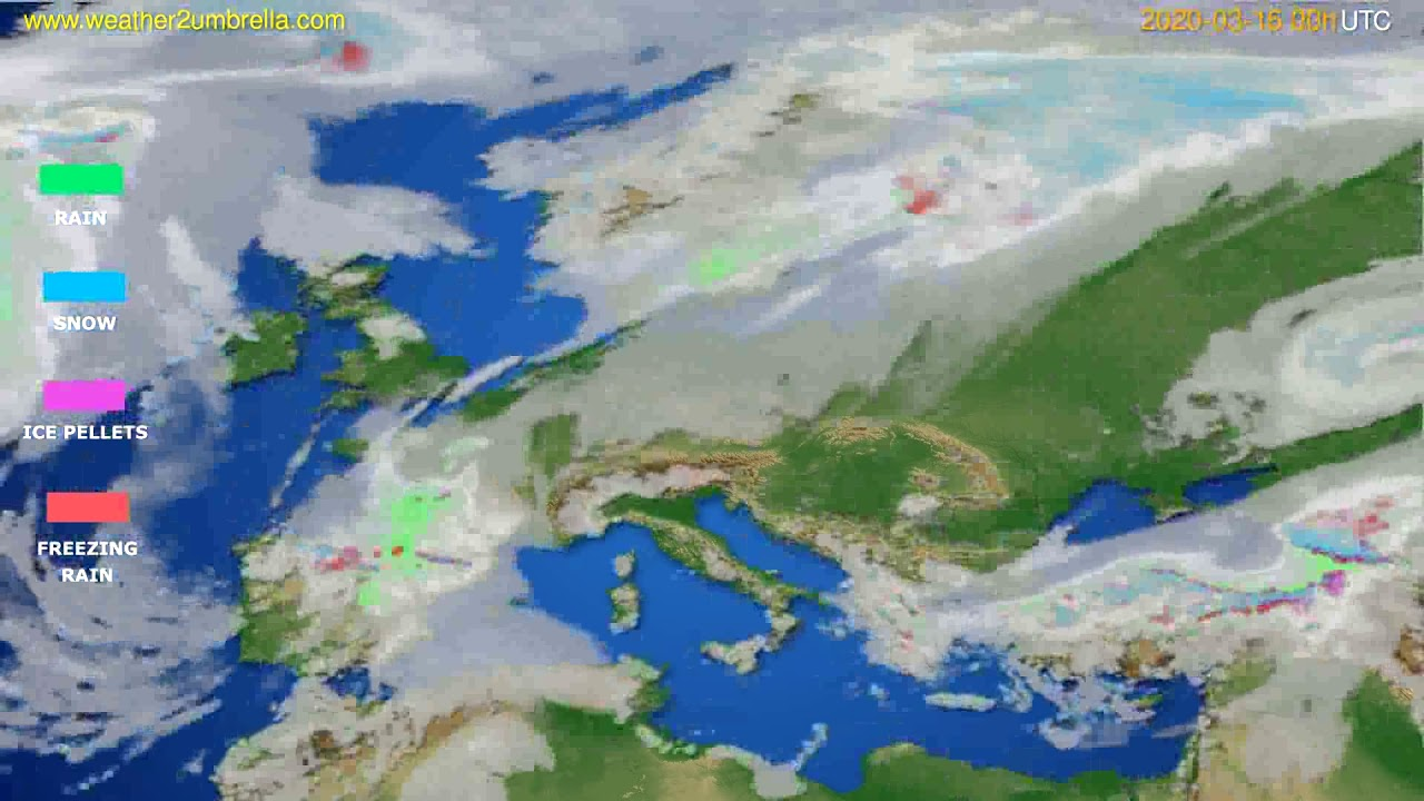 Precipitation forecast Europe // modelrun: 00h UTC 2020-03-15