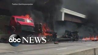 Fiery crash snarls traffic in Kansas City, Missouri