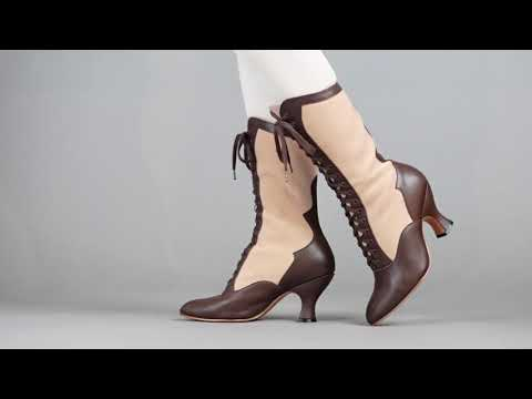 PRE-ORDER Camille Women's Edwardian Boots (Brown/Tan)
