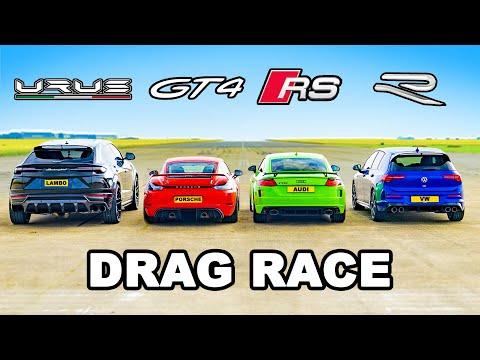 Lamborghini Urus v Audi TT-RS v Porsche GT4 v VW Golf R: DRAG RACE