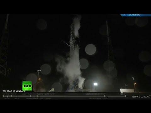 Lanzamiento del cohete SpaceX Falcon 9 con el satélite Telstar 18