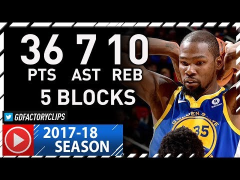 Kevin Durant Full Highlights vs Pistons (2017.12.08) - 36 Pts, 10 Reb, 7 Ast, 5 Blocks