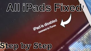 "ALL iPADS FIXED: ""iPad is disabled connect to iTunes"""