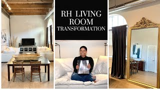 MODERN LIVING ROOM TRANSFORMATION // RESTORATION HARDWARE, IKEA, HOMEGOODS