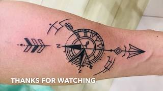 Tattoo Timelapse , Arrow With Compass Tattoo Design