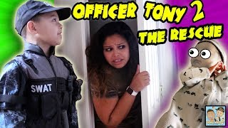 CRAZINESS IN THE DINGLE HOPPERZ HOUSE! OFFICER TONY SAVES BABY AND FAMILY USING NERF! SKIT