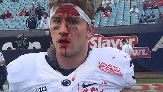 Penn State LB Slams Head Into Teammates Helmets Pregame, Bleeds All Over