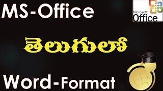 Format Menu Options in MS Word Part 1 (MS Office 2003 in Telugu)