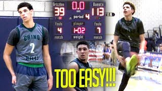 Lonzo Ball's EASIEST Game of His Life! Ball Bros CLOWNING in 74 Point BLOWOUT vs Los Osos