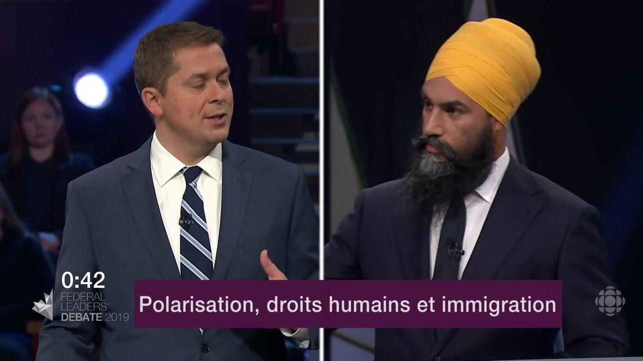 Jagmeet Singh et Andrew Scheer débattent de la Loi sur la laïcité du Québec