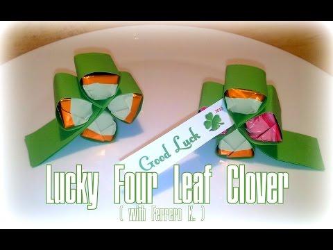 Anleitung Kleeblatt aus FERRERO Küsschen basteln - DIY Lucky Four Leaf Clover