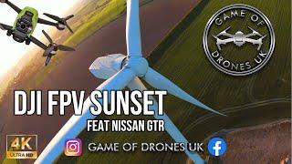 DJI FPV - Sunset at the windfarm + Nissan GTR