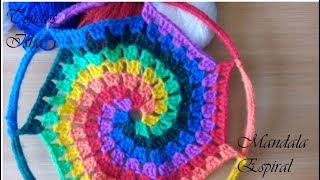 45.- Mandala O Atrapasueños Espiral Multicolor A Crochet