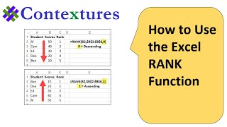 Excel RANK Function to Compare Numbers in a List