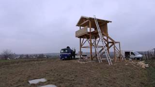 preview picture of video 'Zeitraffer der Bauarbeiten des Trappenaussichtsturms im Weinviertel'
