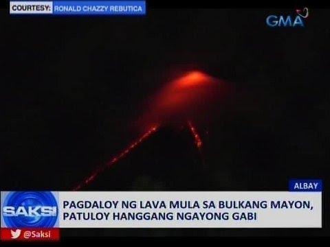 Saksi: Pagdaloy ng lava mula sa Bulkang Mayon, patuloy hanggang ngayong gabi