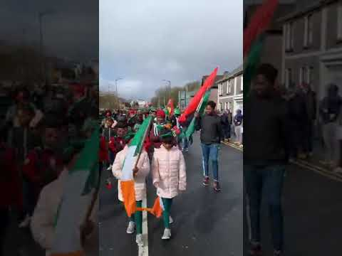 The indeginous people of Biafra matching at St Patrick Ireland