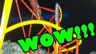 OMG! Wonder Woman Roller Coaster NIGHT Front Seat POV! CRAZY! New at Six Flags Fiesta Texas