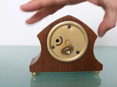 MANTEL Baby Mini CLOCK Vintage Germany Miniature Mid Century Wood TOP Condition!