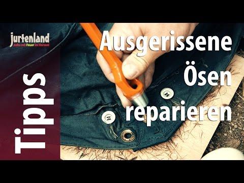 Ausgerissene Ösen reparieren / einschlagen  - Jurtenland