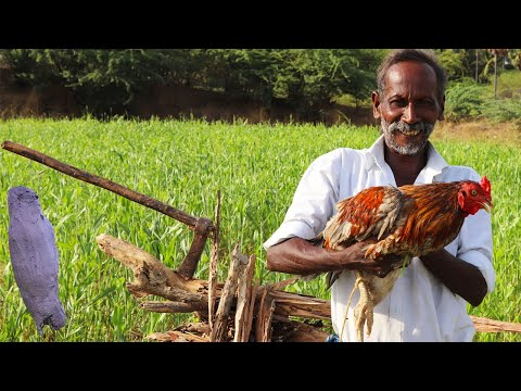 CLAY CHICKEN RECIPE   Making Primitive Technology   Using PALM tree leaf   Cooking by KARUPASAMI-KGF
