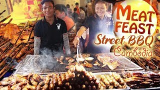 STREET BBQ MEAT FEAST! Street Food Tour of Phnom Penh Cambodia