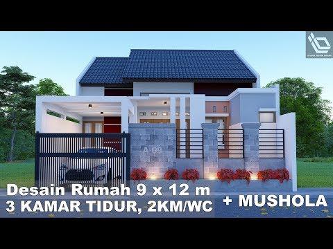 Desain Rumah Minimalis Ukuran 9x12  tonton desain rumah 9 x 12 m 3 kamar tidur 2 km wc