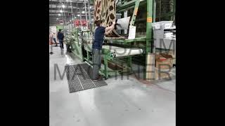 Semi automatic width cutting of woven carpet DelenInsluitenE-mail