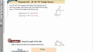 Geometry Chapter 8 Section 2 Special Right Triangles