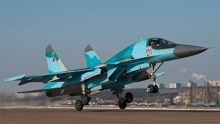 СУ-34 Самолет бомбардировщик в действии \ Sukhoi SU-34 Russia plane in action