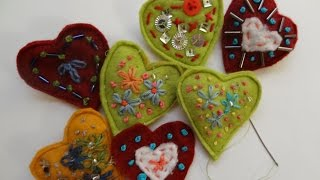 Heart Pins-embroidery Hearts-learn To Sew- Felt Hearts- Simple Sewing-