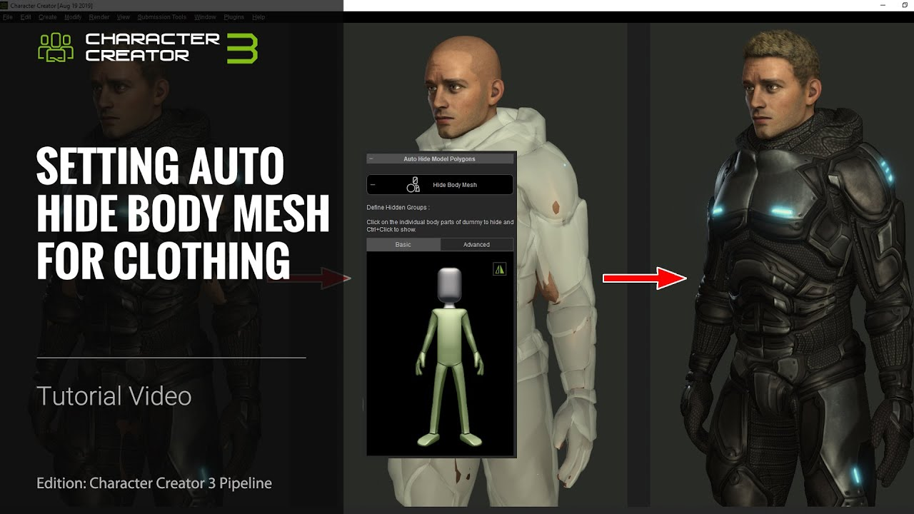 Character Creator 3 Tutorial - Setting Auto Hide Body Mesh for Clothing