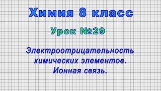 Химия 8 класс Урок 29 - Электроотрицательность химических элементов. Ионная связь.