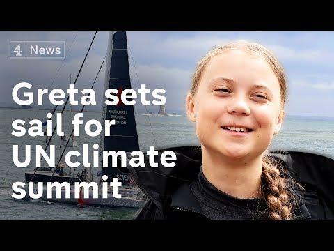 Greta Thunberg speaks as she sets sail for U.S. climate summit