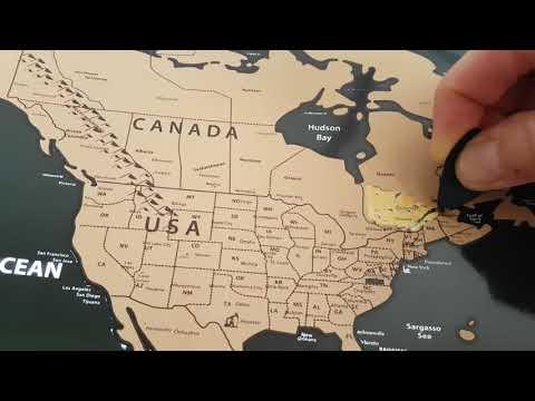 Mappemonde noire à gratter