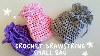 How To Crochet Drawstring Small BAG / EASY TUTORIAL